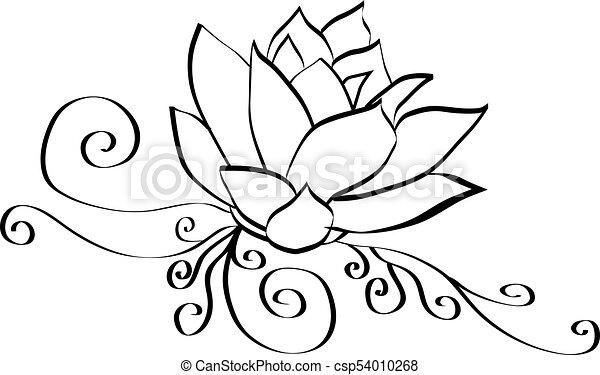 Black And White Elegant Lotus Flower Drawing