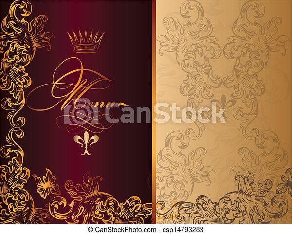 elegant menu design in royal style elegant classic wedding