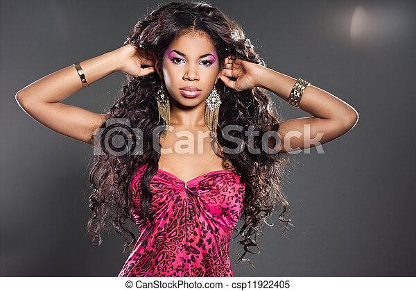 Elegant mulatto girl with long hair - csp11922405