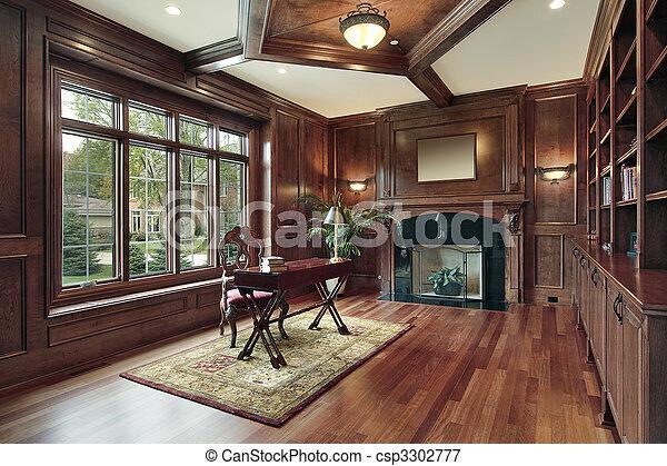 elegant, openhaard, bibliotheek, black  - csp3302777