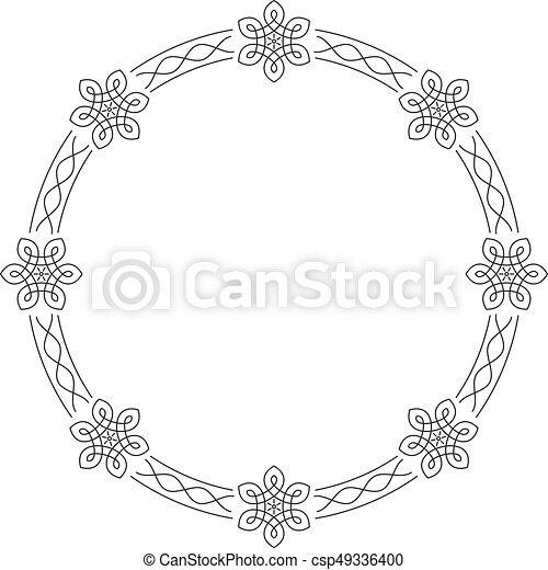 Elegant outlined calligraphic round frames for your design.