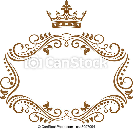 elegant, ram, kunglig krona - csp8997094