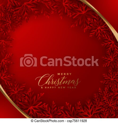 elegant red christmas background with snowflakes design - csp75611928