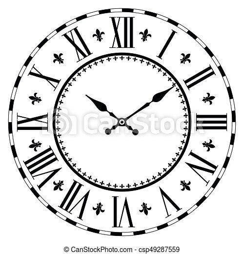 Elegant Roman Clock Vintage Roman Numeral Clock Isolated