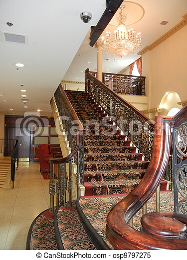 Elegant Staircase Antique Staircase With Red Carpet