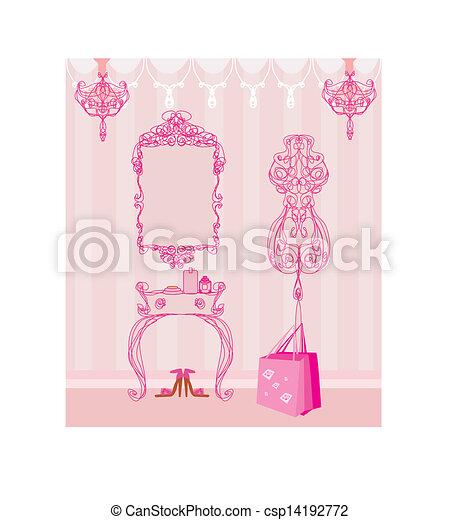 Elegant Style Dressing Room Vector