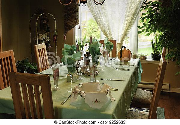 Elegant Table For Family - csp19252633 & Elegant table for family. Table setting for a family dinner... stock ...