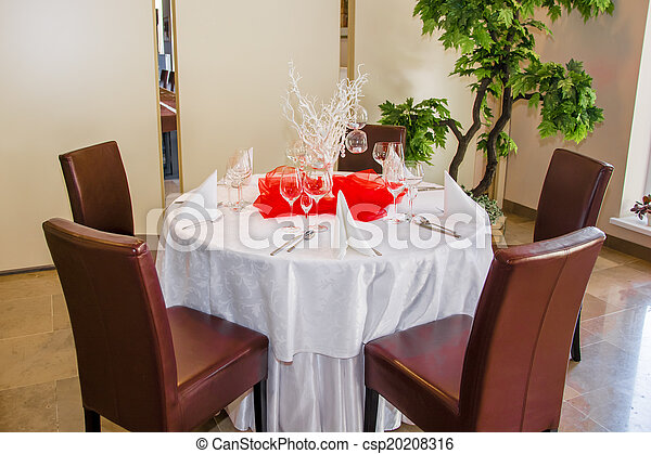 elegant table set for a dinner - csp20208316