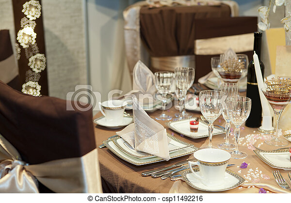 Elegant table set for a wedding dinner - csp11492216