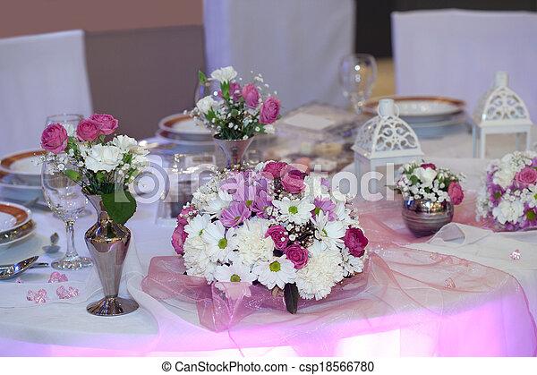 Elegant table set for a wedding dinner - csp18566780