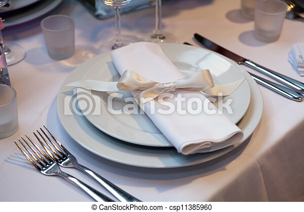 Elegant table set for a wedding dinner - csp11385960