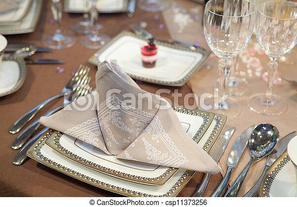 Elegant table set for a wedding dinner - csp11373256