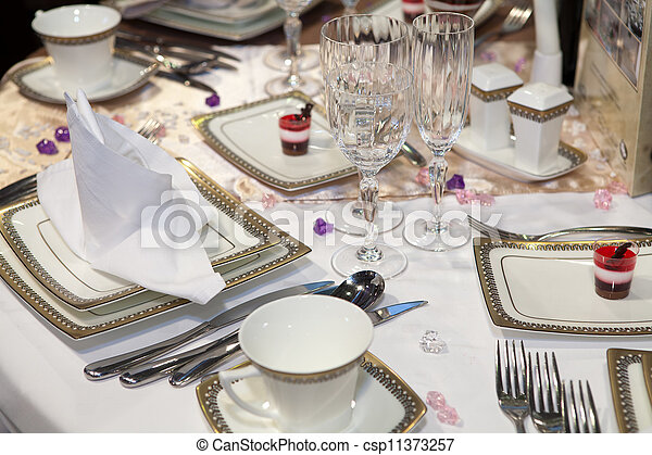 Elegant table set for a wedding dinner - csp11373257