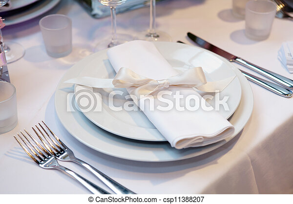 Elegant table set for a wedding dinner - csp11388207