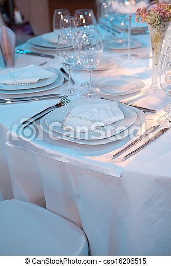 Elegant table setting for a wedding dinner - csp16206515