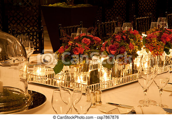 Elegant table setting - csp7867876 & Elegant table setting. Elegant candlelight dinner table setting at ...