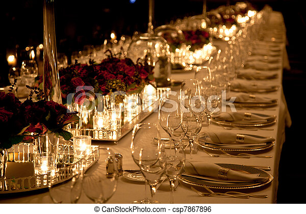 Elegant table setting - csp7867896 & Elegant table setting . Elegant candlelight dinner table setting at ...
