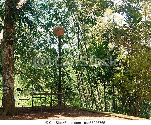 Elegant table under the lantern in a green Park. - csp63026765