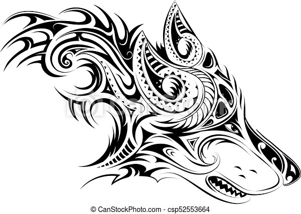 Elegant tattoo of the wolf - csp52553664