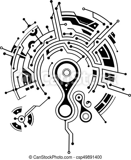 Elegant Tattoo With Circuit Board Elements Conceptual Circuit Board