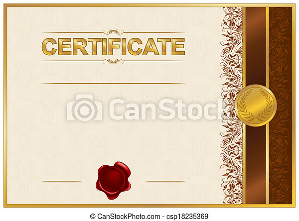 Elegant template of certificate diploma with lace ornament wax elegant template of certificate diploma with lace ornament wax seal place for text vector illustration eps 8 yelopaper Image collections