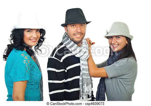 Elegant three people with hats. Beautiful elegant three people ... ff78c15f4d51