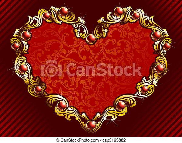 Line Art Valentine : Elegant valentine background with rubies. valentines
