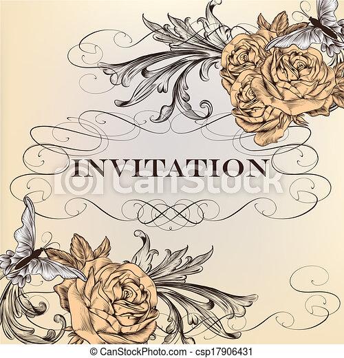 Elegant vector invitation card with roses - csp17906431