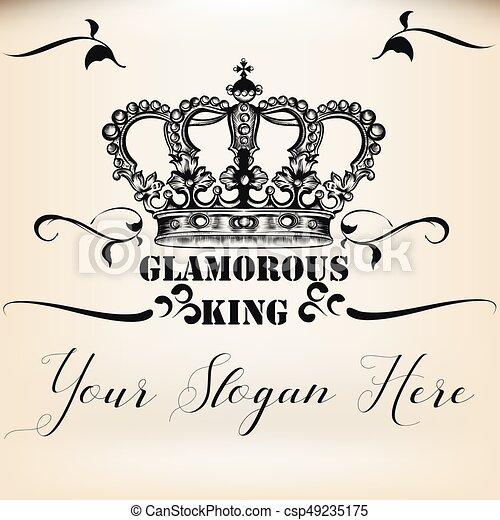 Elegant Vector Invitation Card With King Heraldic Crown Eps