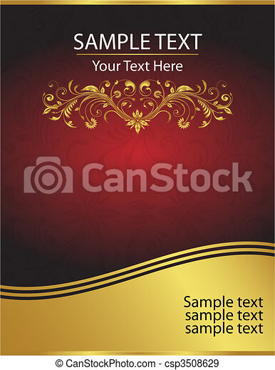 Elegant Vector Red and Gold Background Template - csp3508629