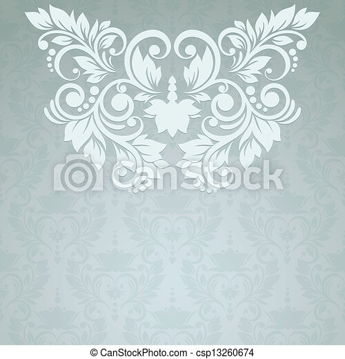 Elegant vintage card with floral seamless background (background - csp13260674