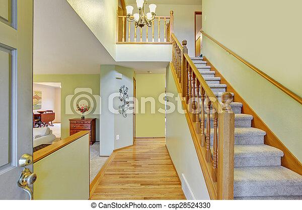 elegant walk way with stair case. - csp28524330