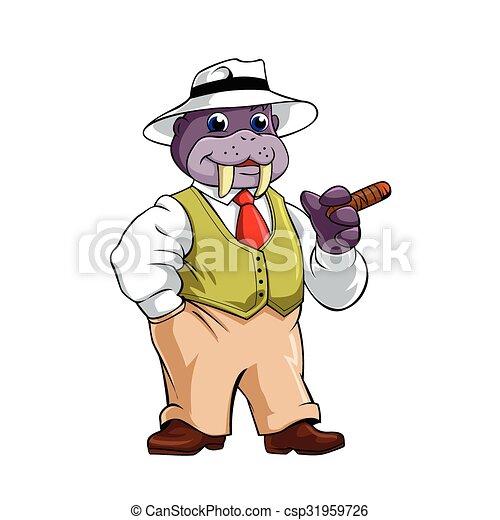 Elegant walrus with Cigar - csp31959726