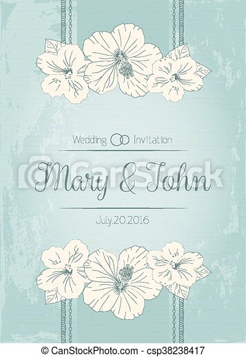 Elegant wedding invitation design greeting card banner elegant wedding invitation design greeting card banner frame with hibiscus flowers vector stopboris Image collections