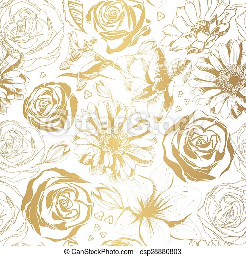 Elegant white pattern with gold flowers vector illustration elegant white pattern with gold flowers vector illustration mightylinksfo