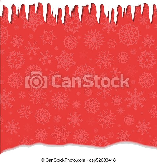 elegant winter festive red template with fallen snowflakes icicles