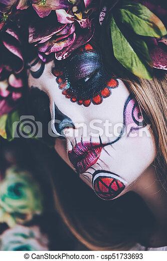 Elegant Woman Catrina Closeup Portrait Of Calavera
