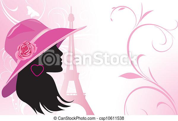 Elegant woman in a hat - csp10611538