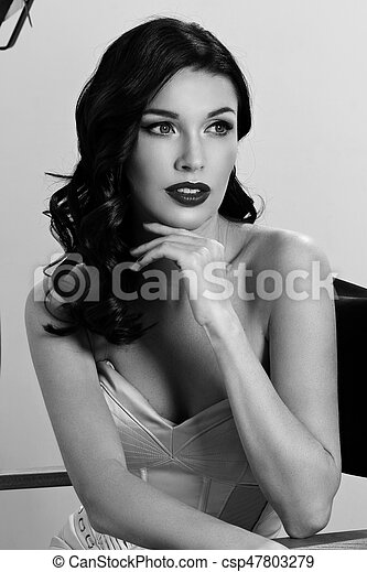 Elegant Woman With Classic Hollywood Wave Young Pretty Beautiful