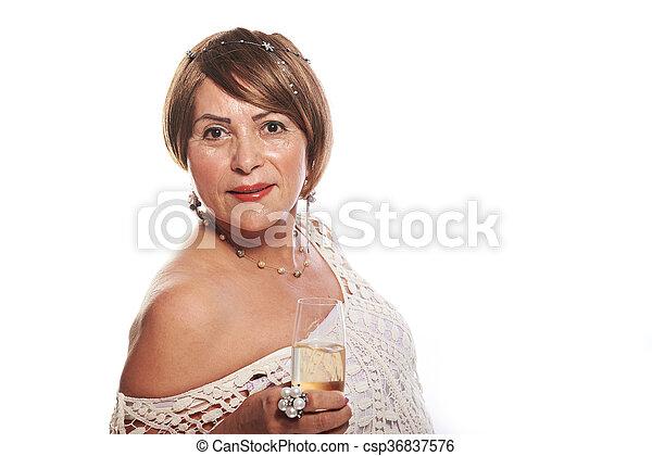 elegant woman with glass - csp36837576