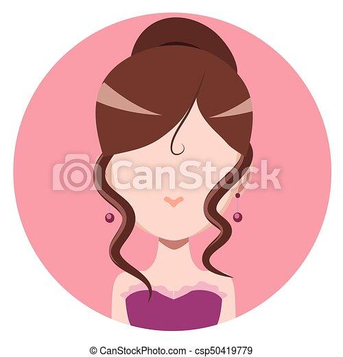 Elegant woman with hair in a bun - flat avatar - csp50419779