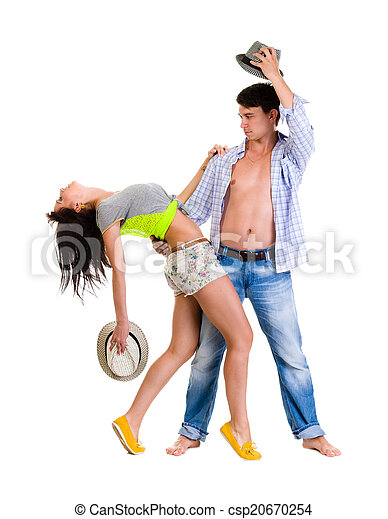 Elegant young couple dancing on white background - csp20670254