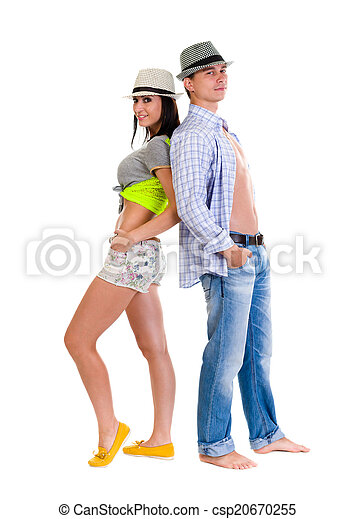 Elegant young couple dancing on white background - csp20670255
