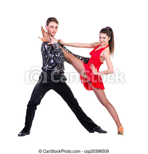 Elegant young couple dancing on white background - csp20396509