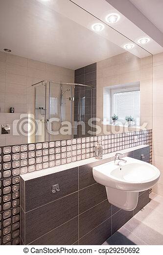 Elegante, azulejos, cuarto de baño, mosaico. Cuarto de baño ...