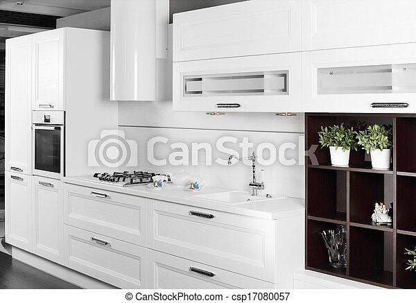 Elegante, blanco, muebles modernos, cocina. Moderno, lujo ...