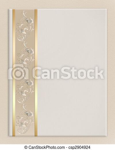elegante, boda, frontera, invitación - csp2904924