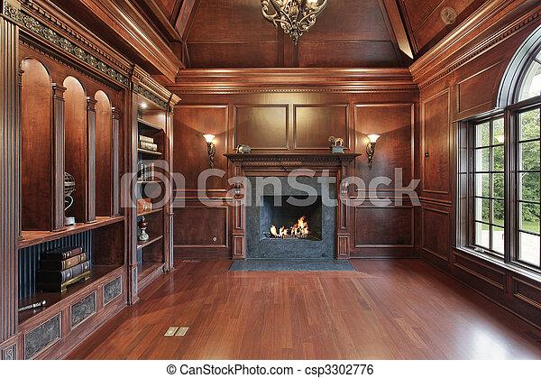 elegante, caminetto, biblioteca, nero - csp3302776
