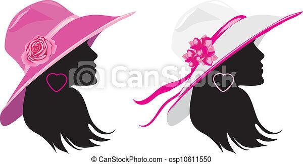 Elegante Cappelli Due Donne Hats Due Illustrazione Elegante