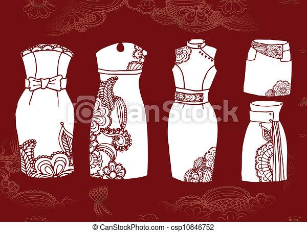 abeb41ecf elegante, conjunto, vestidos, faldas